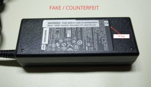 fake HP 90W power adapter