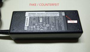 fake HP 90W power adapter