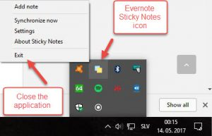Closing Evernote Sticky Notes application from taskbar