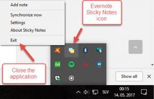 Closing Evernote Sticky Notes application from taskbar