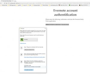 Entering verification code into Evernote Sticky Notes
