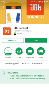 JBL Connect app in the Android Play Store