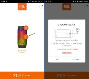 JBL Pulse 2 firmware upgrade via JBL Connect app