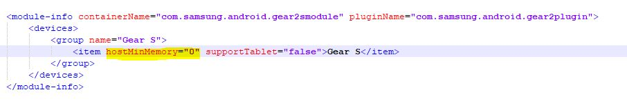 Modifying rules.xml file to bypass minimum RAM requirement for Samsung Gear